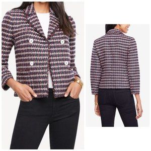 Ann Tayor DOUBLE BREASTED TWEED JACKET, size 2P